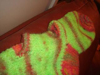 My stocking foot felted