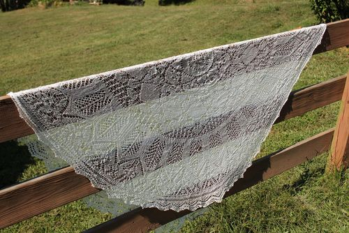 Wedding shawl on fence