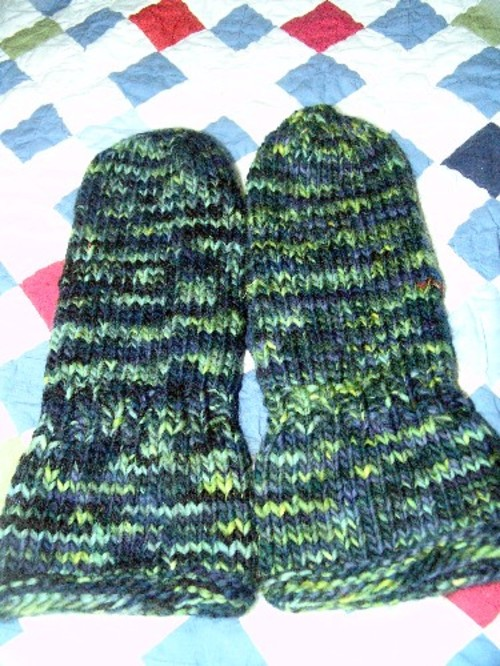 Fulled gauntlet mittens